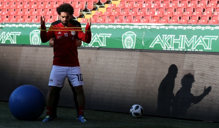Egypt forward Mohamed Salah takes part in a training session at the Akhmat Arena stadium in Grozny on June 12, 2018, ahead of the Russia 2018 World Cup. — AFP