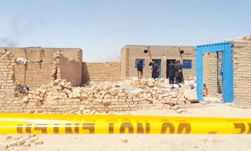 SECURITY personnel cordon off the Dasht area of Mastung where they conducted an operation against a banned organisation on Wednesday.—Online
