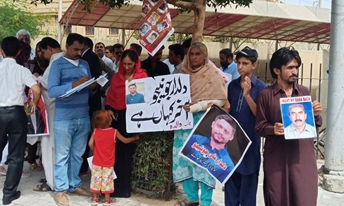 Family members of missing persons line up outside the Supreme Court Karachi registry. ─ Photo courtesy Jibran Nasir Twitter