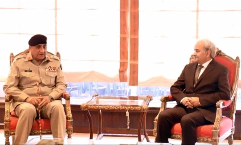 Army Chief Gen Qamar Javed Bajwa meets Caretaker PM retired Justice Nasirul Mulk on Monday. — Courtesy: PM Office