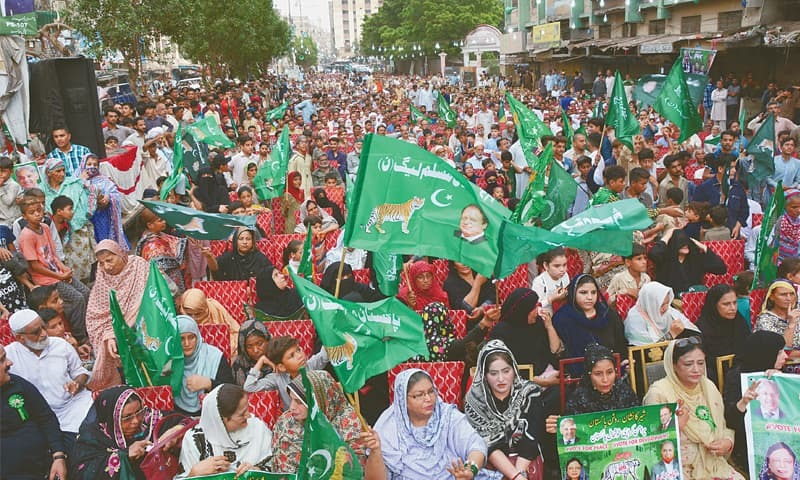 PML-N supporters attend a rally addressed by Shahbaz Sharif in Lyari on Tuesday.—White Star