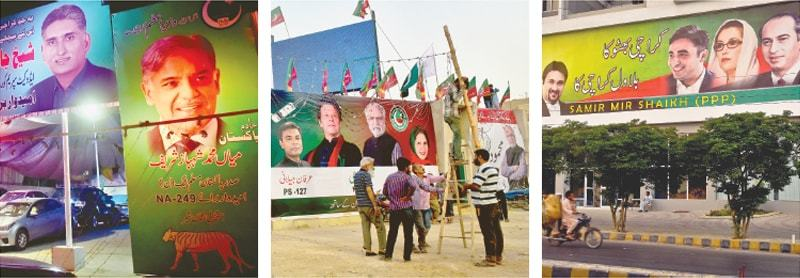 WITH elections fast approaching, political parties have started to cover the metropolis with large-size banners and hoardings.—Fahim Siddiqi / White Star