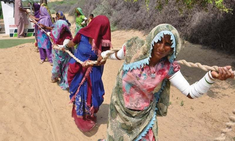 Women toil in the Thar desert, that the PPP manifesto touts as one of its big success stories. The region remains the poorest in the country, with the highest rates of infant mortality.