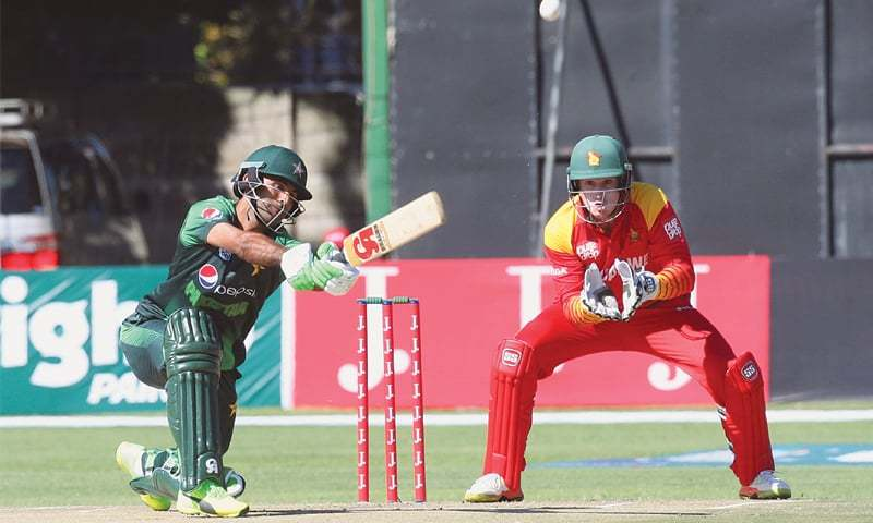 HARARE: Pakistan opener Fakhar Zaman hits over the top during his knock of 61 in the first match of the Twenty20 International tri-series against Zimbabwe at the Harare Sports Club on Sunday.—AP