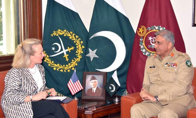 Chief of the Army Staff Gen Qamar Javed Bajwa talks to Alice G. Wells during their meeting at General Headquarters.—Online