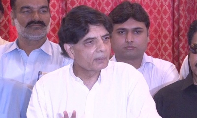 Chaudrhy Nisar speaks to the media in Taxila. — DawnNewsTV