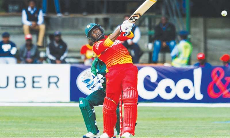 HARARE: Zimbabwe opener Solomon Mire attempts a big hit during his innings of 94 in the tri-series match against Pakistan at the Harare Sports Club on Wednesday.—AFP