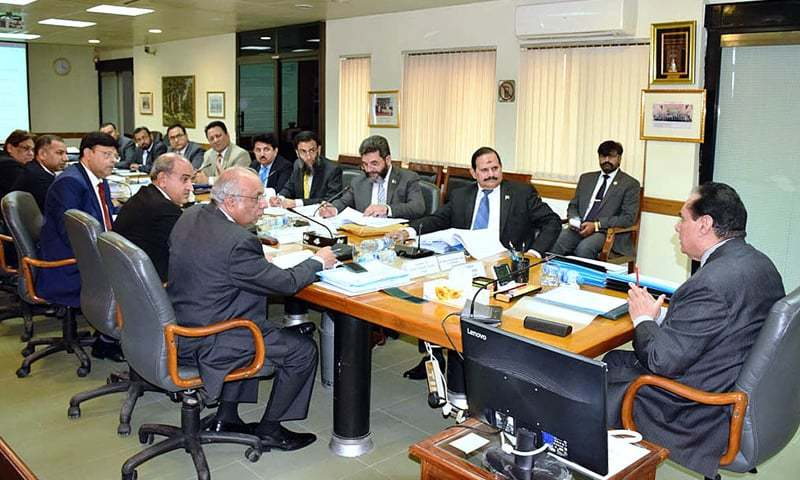 ISLAMABAD: Chairman of the National Accountability Bureau retired Justice Javed Iqbal presides over a meeting of NAB's executive board on Wednesday.—APP