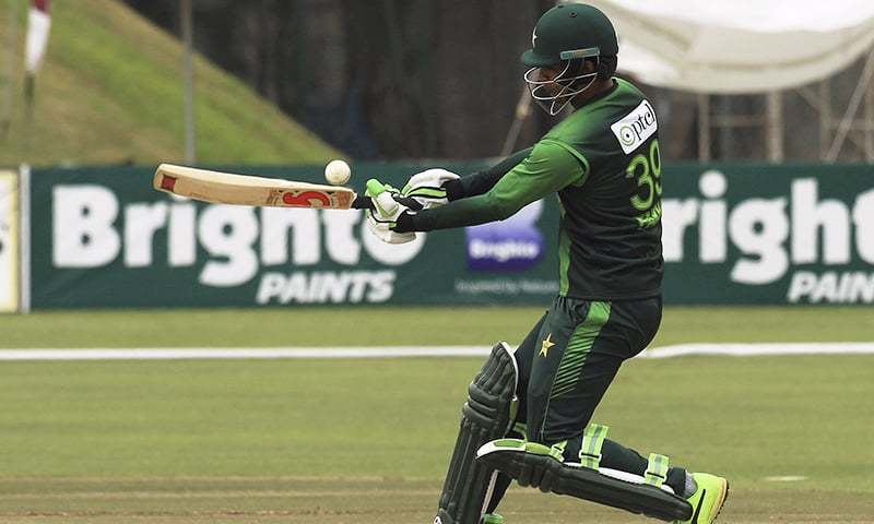 Pakistan batsman Fakhar Zaman plays a shot during the T20 cricket match against Australia at Harare Sports Club, in Harare, Zimbabwe on Thursday. — AP