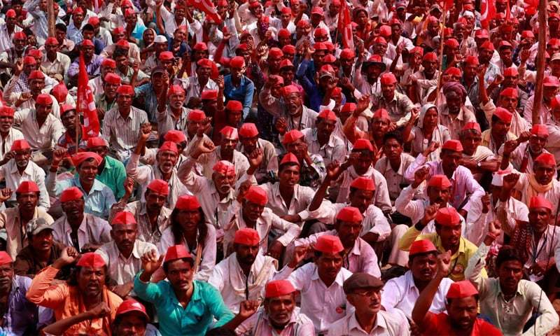 In this March 12, 2018 photo, Indian farmers shout slogans against the government at a rally organised by All India Kisan Sabha (AIKS) in Mumbai.—Reuters