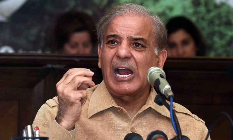 PML-N President Shahbaz Sharif addresses a press conference following his brother Nawaz Sharif's  sentencing. —AFP
