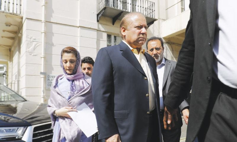 LONDON: Ousted prime minister Nawaz Sharif arrives at his office on Friday to address a news conference after he was sentenced to 10 years in prison by an accountability court in Islamabad.—AFP