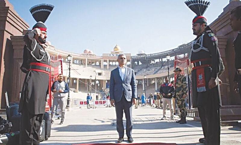 Mayor of London Sadiq Khan crossing the Wagah border on his visit last year