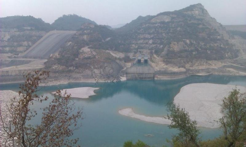 A file photo of Tarbela dam at dead level. This is the first time in the dam's history that it has touched dead level in July, which is a month of peak inflows.