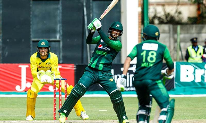 Fakhar Zaman in action during the final of the tri-series played between Pakistan and Australia — AFP
