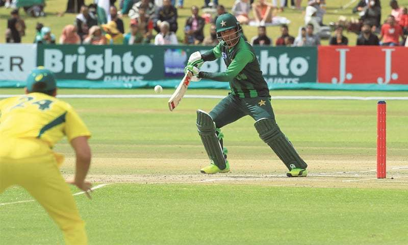 HARARE: Pakistan's man of the moment Fakhar Zaman plays an elegant stroke during his match-winning knock of 91 in the T20 International tri-series final against Australia at the Harare Sports Club on Sunday.—AP
