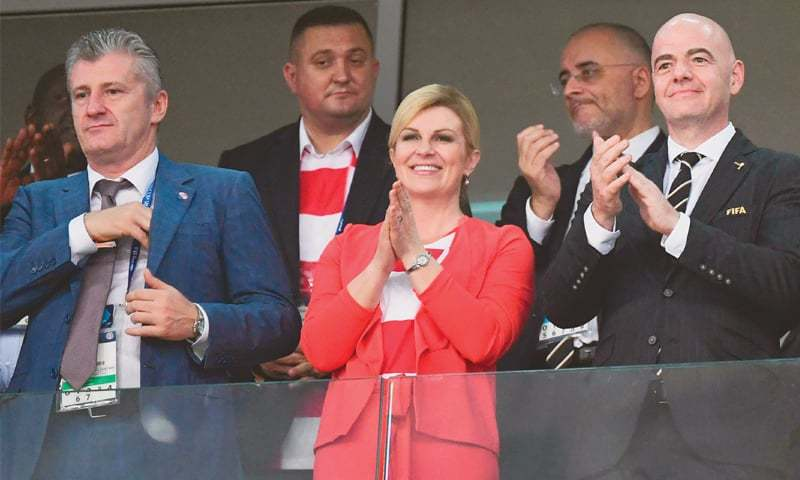 SOCHI: President of Croatian Football Federation Davor Suker (L),  Croatia's President Kolinda Grabar-Kitarovic and FIFA president Gianni Infantino in attendance during the last quarter-final at the Fisht Stadium.—AFP