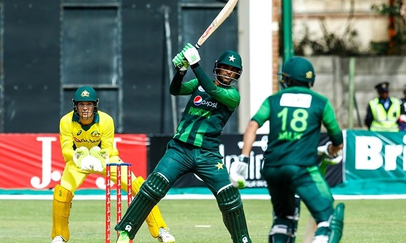 Fakhar Zaman in action during the final of the tri-series — AFP