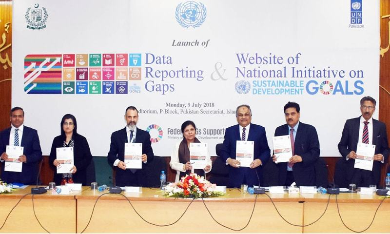 ISLAMABAD: Minister for Finance, Planning, Development and Reforms, Dr Shamshad Akhtar and senior officials are seen at the launch of 'Data Reporting Gaps Study' on Monday.