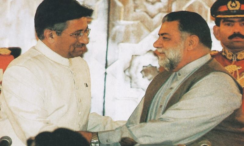 IN this file photo, former president Gen Pervez Musharraf greets Mir Zafarullah Khan Jamali after the former administered the oath to the  prime minister in Islamabad.—AFP