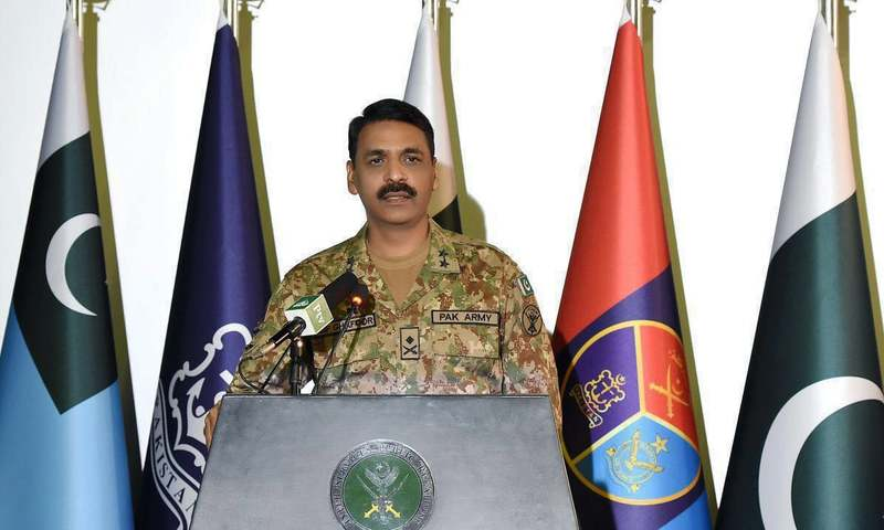 DG ISPR Maj Gen Asif Ghafoor addresses press conference. — photo courtesy ISPR