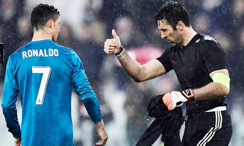 Juventus goalkeeper Gianluigi Buffon congratulates Real Madrid's forward Cristiano Ronaldo at the end of the UEFA Champions League quarter-final  match. —AFP