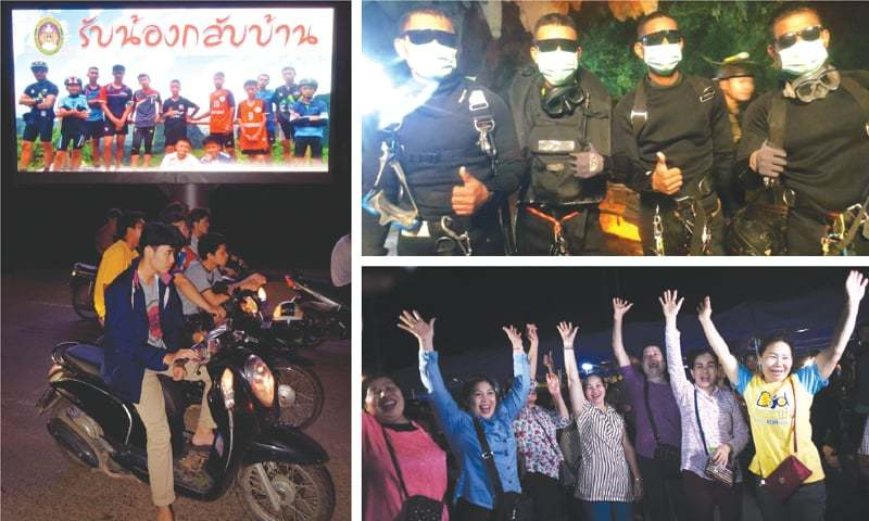 """MAE SAI: Motorists pass a billboard (left) with a photo showing members of the Thai children's football team """"Wild Boar"""" and their coach with a message """"welcome home brothers"""" displayed in Chiang Rai on Tuesday. Four Thai Navy Seals (top right) are seen after leaving the cave safe during the rescue mission. Volunteers celebrate after hearing the news that all the 12 boys and their football coach have been rescued.—Agencies"""
