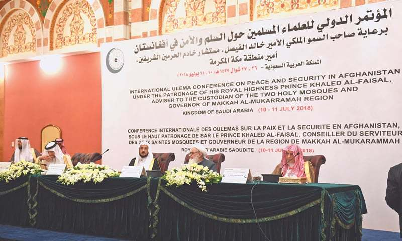 Jeddah: Saudi King Salman's adviser and Grand Mosque Imam Saleh bin Hmaid (first right), Afghanistan's representative Mowlay Giameddin Kashaf (second right), Saudi minister for Islamic affairs Abdullatif Al Sheikh and OIC Secretary General Yousef bin Ahmed Al Othaimeen (2nd left) attend the Ulema conference on Tuesday.—AFP