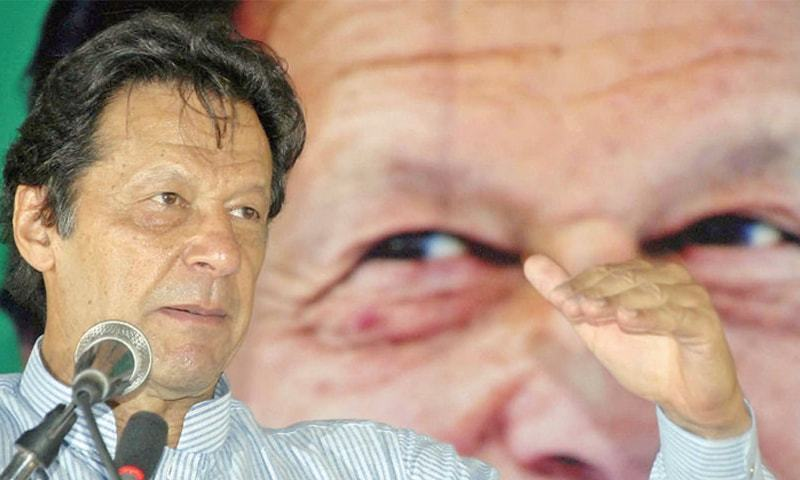 PTI chief Imran Khan speaks at the convention in Islamabad on Wednesday. — Online