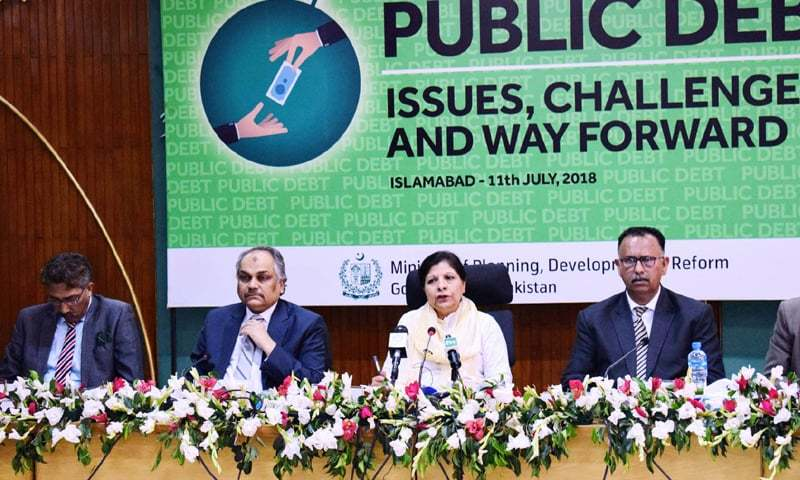 ISLAMABAD: Minister for Finance, Planning and Development Dr Shamshad Akhtar addressing a seminar on 'Public Debt — Issues, Challenges and Way Forward' on Wednesday.