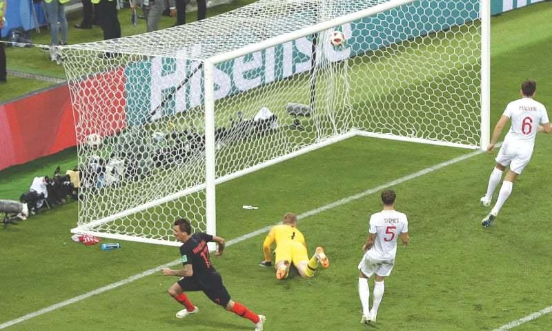 CROATIA's Mario Mandzukic (left) celebrates after scoring his side's second goal.—AP