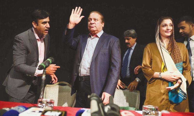 OUSTED prime minister Nawaz Sharif appears with his daughter Maryam at a news conference in London on Wednesday.—Reuters