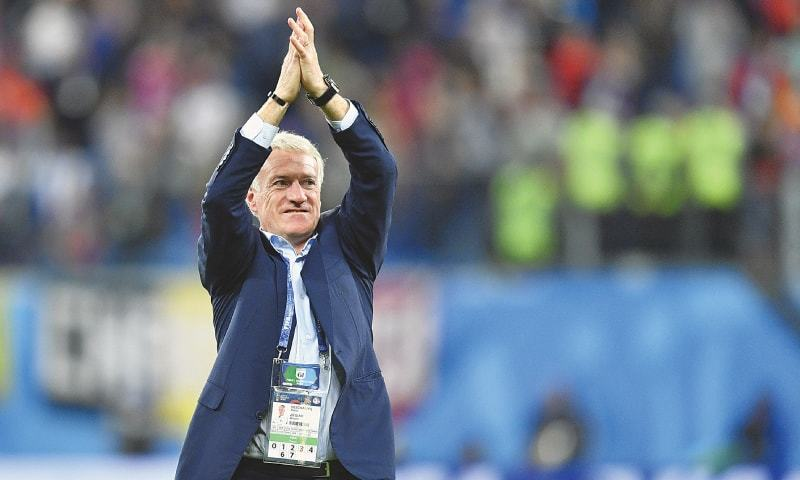 ST PETERSBURG: French coach Didier Deschamps celebrates after the semi-final victory.—AP