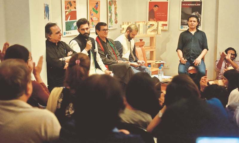 CANDIDATE Jibran Nasir speaks at T2F on Thursday evening.—Fahim Siddiqi / White Star