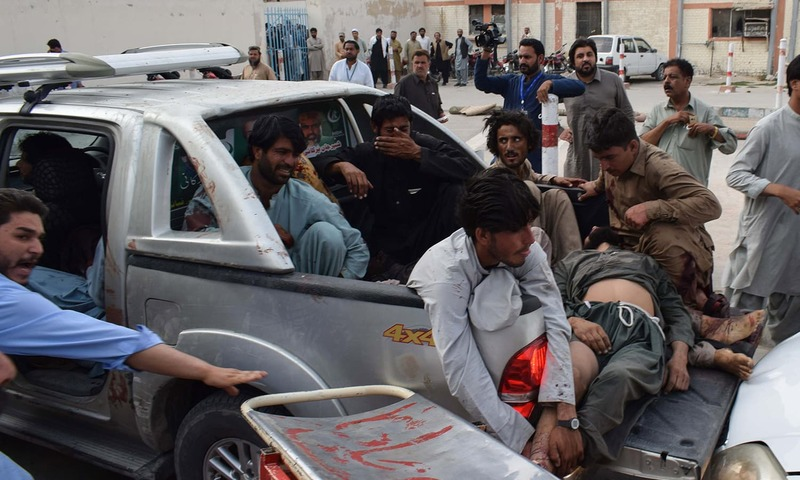 A victim of the bomb blast being shifted to a stretcher after being brought to a hospital in Quetta. —AFP