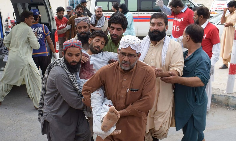 An injured man  brought to a hospital in Quetta. —AFP