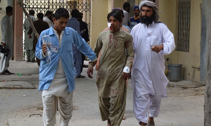 A victim is brought to a hospital in Quetta following the attack. —AFP