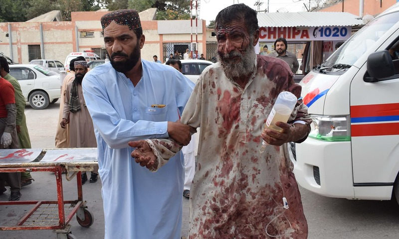 A senior citizen injured in the blast is brought to a Quetta hospital following the blast. —AFP