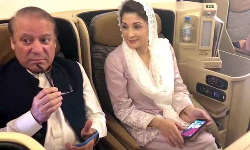 Nawaz Sharif and Maryam onboard their flight back to Pakistan. — File
