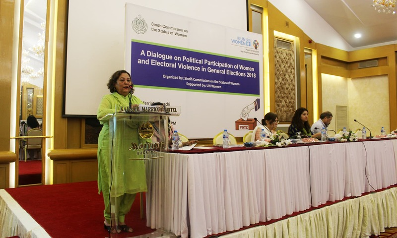 Nuzhat Shirin, Chairperson Sindh Commission on Status of Women speaks during a seminar on participation of women and electoral violence in General Elections 2018. — Photo: Bilal Karim Mughal