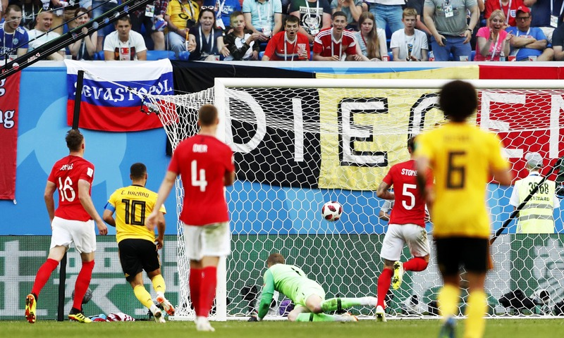 Belgium's Eden Hazard scores his side's second goal during the third place match against England. —AP