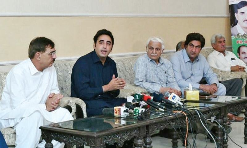 PPP chief Bilawal Bhutto Zardari addresses a presser in Malakand on Sunday. — Dawn
