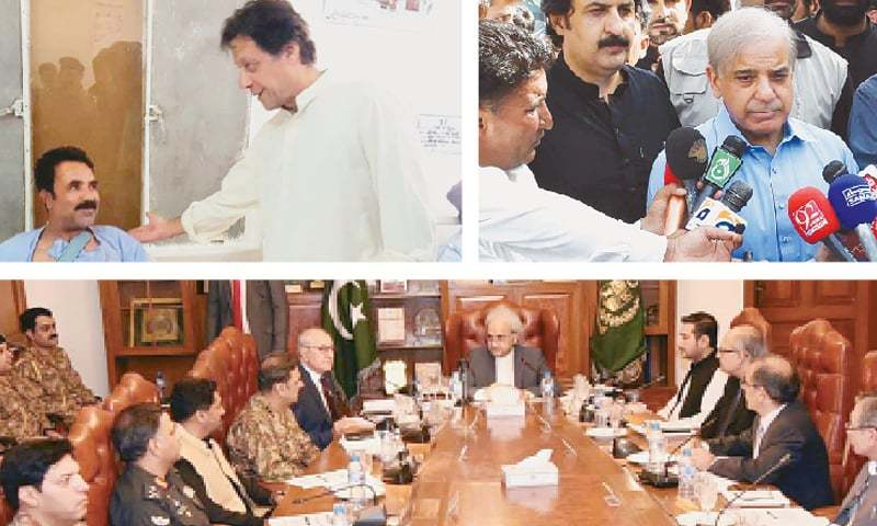 (Top left) Pakistan Tehreek-i-Insaf chairman Imran Khan visits the Combined Military Hospital in Quetta on Sunday to inquire after the health of those injured in the Mastung blast. (Top right) Pakistan Muslim League-Nawaz president Shahbaz Sharif talks to the media after offering his condolences at Sarawan House. (Bottom) Caretaker Prime Minister Nasirul Mulk chairs a meeting on law and order at Governor House.—Agencies