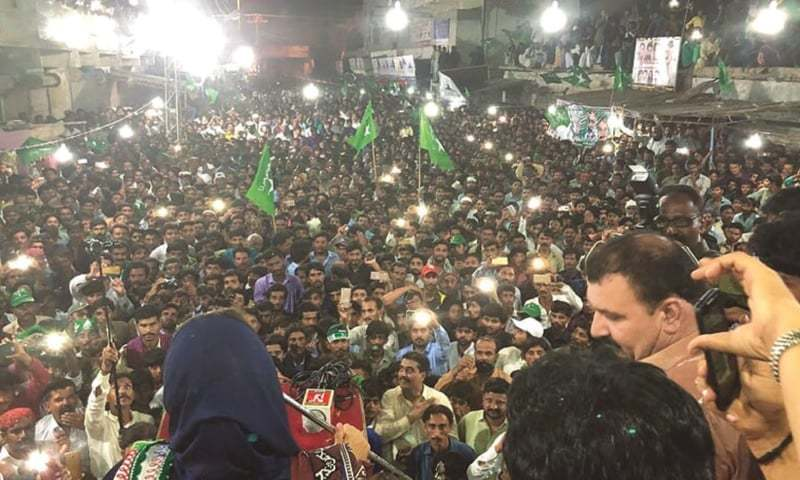 DR Fehmida Mirza addresses a rally in Badin. She says things worsened for her family after 2014 as the entire district  administration was changed and the then deputy commissioner did so many things purposely against them.—Umair Ali