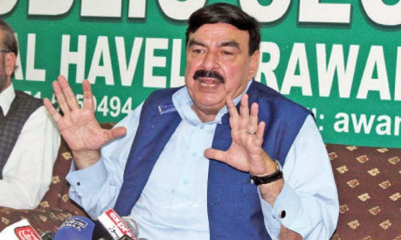 Sheikh Rashid Ahmed speaks at the press conference on Monday. — Online