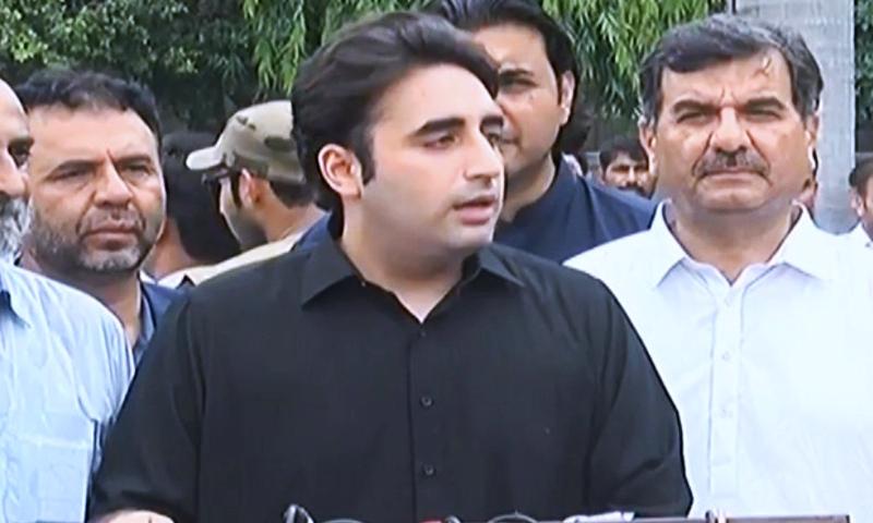 PPP Chairman Bilawal Bhutto Zardari speaks to the media in Lala Musa. —DawnNewsTV