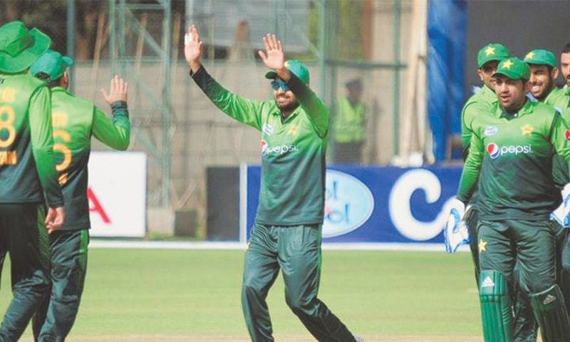 BULAWAYO: Pakistan players celebrate a Zimbabwe wicket during the third One-day International at the Queens Sports Club on Wednesday.—AFP