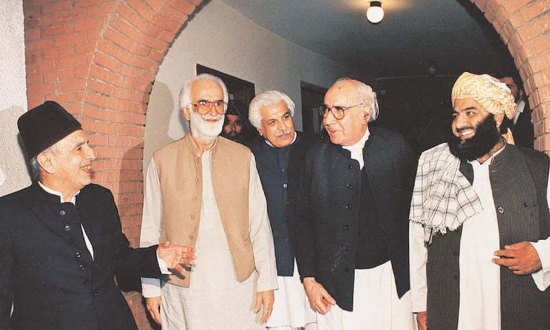 THE past and present of Balochistan politics: Nawab Akbar Bugti (top) with his contemporaries; Nawab Khair Bakhsh Marri with Benazir Bhutto (second from top) followed by a file photo of Israr Zehri as he welcomes Nawaz Sharif; (bottom right) Nawab Aslam Raisani during initial stage of his political career; and (bottom left) Nawab Sanaullah Zehri.—File