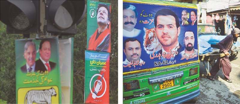Campaign posters with political slogans are ubiquitous — on the streets, vehicles and even lights.