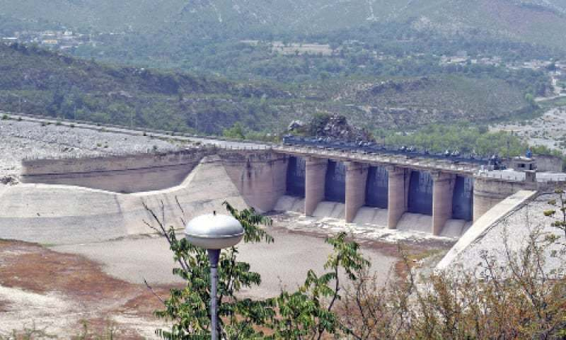 View of Khanpur Dam spillways with the green valley in the background. The spillways have not been opened since April 2016.
